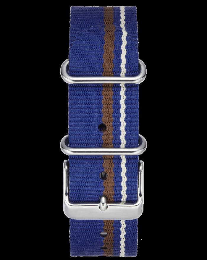 BLUE-WHITE-BROWN STRIPE W/ STAINLESS STEEL BUCKLE