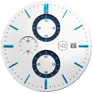 WHITE DIAL W/ BLUE INDEX